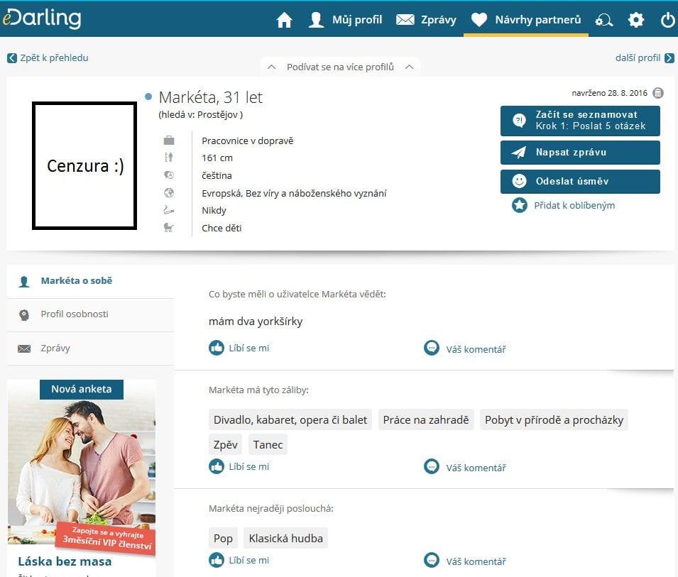 recenze seznamky edarling- uživatelské prostředí